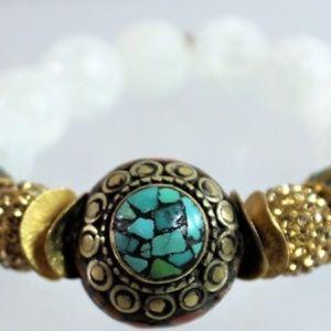 Buddhaluv Turquoise Gold and White Bracelet
